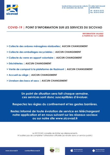 Point d'information COVID-19 sur les services du SICOVAD .